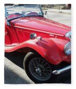 Red Mg Antique Car Fleece Blanket