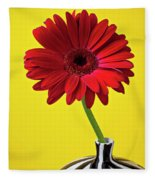 Red Mum Against Yellow Background Fleece Blanket