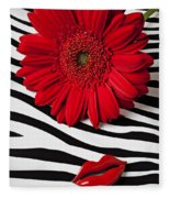 Red Mum And Red Lips Fleece Blanket