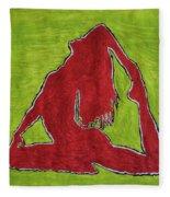 Red Nude Yoga Girl Fleece Blanket
