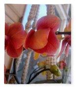 Red Orchid Flowers 01 Fleece Blanket