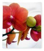 Red Orchid Flowers 02 Fleece Blanket