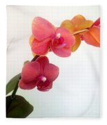 Red Pink Golden Orchid Flowers 03 Fleece Blanket