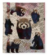 Red Panda Abstract Mixed Media Digital Art Collage Fleece Blanket