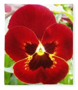 Red Pansy Fleece Blanket