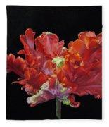 Red Parrot Tulip - Oils Fleece Blanket