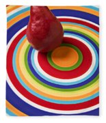 Red Pear On Circle Plate Fleece Blanket