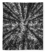 Red Pine Tree Tops In Black And White Fleece Blanket