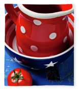 Red Pitcher And Tomato Fleece Blanket