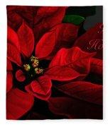 Red Poinsettia Happy Holidays Card Fleece Blanket