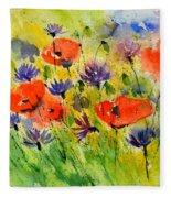 Red Poppies And Cornflowers Fleece Blanket