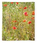 Red Poppies And Wild Flowers Fleece Blanket
