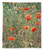 Red Poppies In A Summer Sun Fleece Blanket