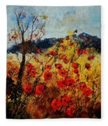 Red Poppies In Provence  Fleece Blanket