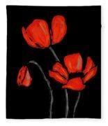 Red Poppies On Black By Sharon Cummings Fleece Blanket
