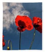 Red Poppies On Blue Sky Fleece Blanket