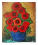Red Poppies In Blue Vase Fleece Blanket