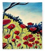 Red Poppies Under A Blue Sky Fleece Blanket