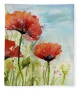 Red Poppies Watercolor Fleece Blanket