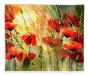Red Poppies Watercolor Fleece Blanket