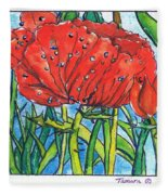 Red Poppy 1 Fleece Blanket