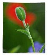 Red Poppy Bud Fleece Blanket