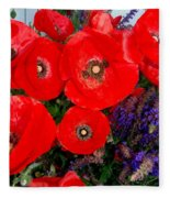 Red Poppy Cluster With Purple Lavender Fleece Blanket