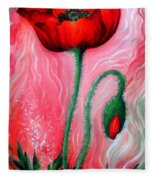 Red Poppy Flower. Pink Sunset Fleece Blanket