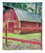 Red Rail Barn Fleece Blanket