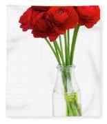 Red Ranunculus Flowers Fleece Blanket
