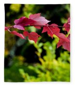 Red Red Maple Leaves Fleece Blanket