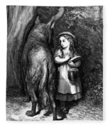 Red Riding Hood Meets Old Father Wolf Fleece Blanket
