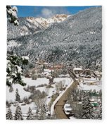 Red River In Winter Fleece Blanket
