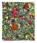 Red Robin And Cedar Waxwing 1 Fleece Blanket