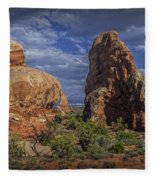 Red Rock Formations On A Desert Plateau In Utah Fleece Blanket
