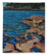 Red Rocks And Pooled Water Fleece Blanket