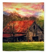 Red Roof At Sunset Fleece Blanket