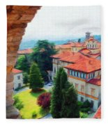 Red Roofs Fleece Blanket