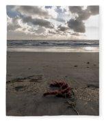 Red Rope On The Beach Fleece Blanket