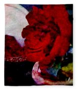 Red Rose And The Mirror Fleece Blanket