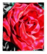 Red Rose Fractal Fleece Blanket
