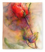 Red Rose From The Past Fleece Blanket