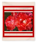 Red Rose With A Whisper Of Yellow And Design Fleece Blanket