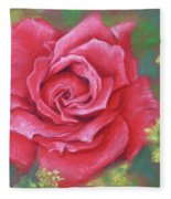 Red Rose With Yellow Lady's Mantle Fleece Blanket