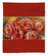 Red Roses Pierre-auguste Renoir Fleece Blanket