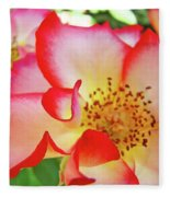 Red Roses White Yellow Rose Flower Floral Art Print Baslee Troutman Fleece Blanket
