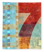 Red Seven And Stripes Mixed Media Fleece Blanket