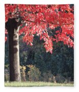Red Shade Tree Fleece Blanket