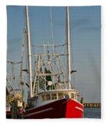 Red Shrimp Boat Fleece Blanket