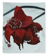 Red Silk Cotton Flower Fleece Blanket